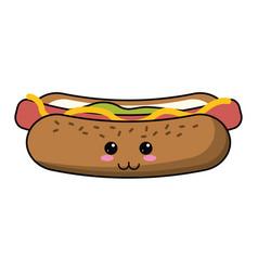 kawaii hot dog fast food vector image