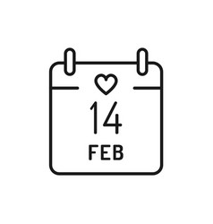 14 february calendar icon valentines day thin vector