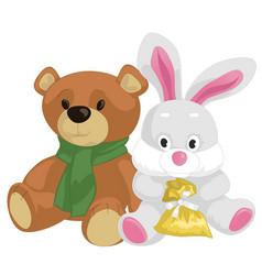 cute toy teddy bear and rabbit vector image