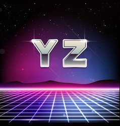 80s retro sci-fi font from y to z vector