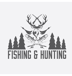 Hunting and fishing vintage emblem design template vector