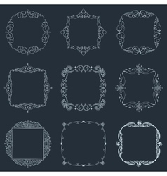 Calligraphic frames set and page decoration vector