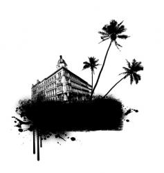 Building with palms vector