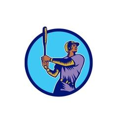 Baseball batter batting bat circle woodcut vector