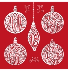 Christmas balls letteringcard elements set vector