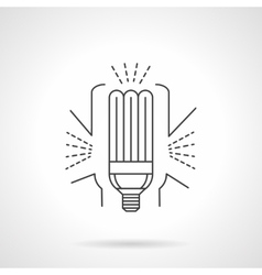 Saving energy lamp flat line icon vector