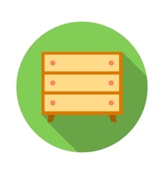 Wooden chest icon flat style vector