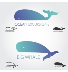 Blue whale logos set concept fish logo simple vector