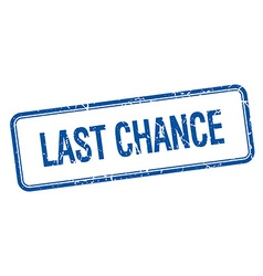 Last chance blue square grungy vintage isolated vector