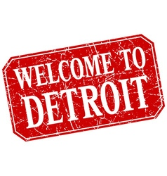 Welcome to detroit red square grunge stamp vector