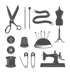 Tailor icon set vector