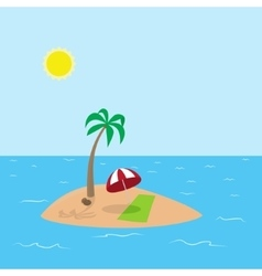 Tropical island with coconut palm vector