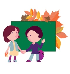 Boy and girl the first day to the school vector