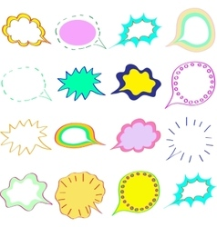 Blank empty colorful speech bubbles clouds set vector