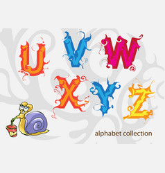 alphabet with mr snail vector image vector image