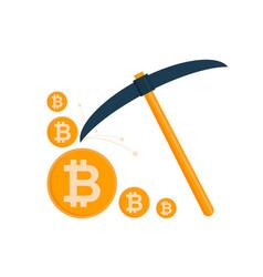 bitcoin mining concept pickaxe with gold coins vector image