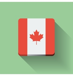 Button with flag of Canada vector image vector image