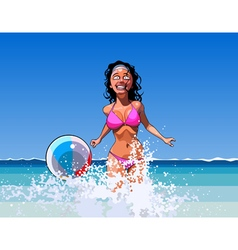 cartoon cheerful woman playing with a ball vector image vector image
