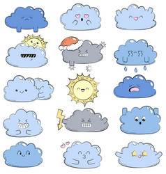Cartoon doodle comic with cute clouds vector