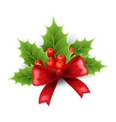 Christmas holly and red bow vector image vector image