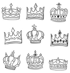 doodle of various crowns hand draw vector image