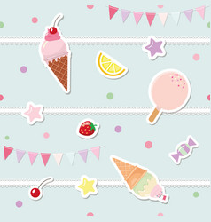 festive seamless pattern with sweets and garlands vector image vector image