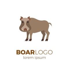 Flat boar logo vector image