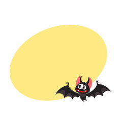 Flying crazy vampire bat traditional halloween vector