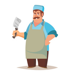 Happy butcher standing butcher man with vector