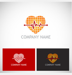 heart beat pulse love logo vector image vector image