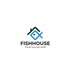 House roof and fish logo template vector