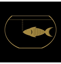 Monochrome icon with aquarium vector