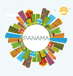 Panama skyline with color buildings blue sky and vector
