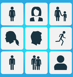 person icons set collection of user beloveds vector image vector image