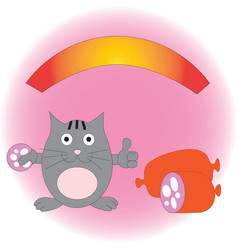 pleased funny cat with sausage vector image vector image
