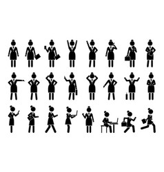 set of icons business woman vector image