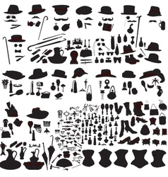 set of silhouettes accessories Art Nouveau vector image vector image