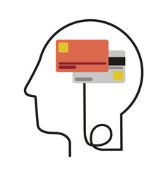 Silhouette profile human head with debit and vector