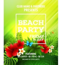 Summer Beach Party Flyer Template vector image