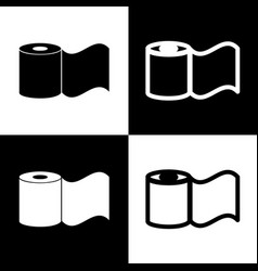 Toilet paper sign black and white icons vector