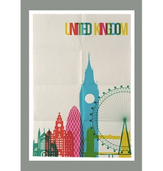 Travel united kingdom landmarks skyline vintage vector