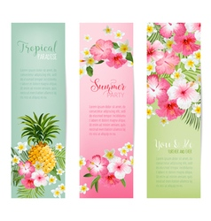 Tropical Flowers and Pineapples Banners and Tags vector image vector image