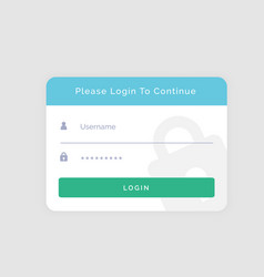 white login template design for your website or vector image