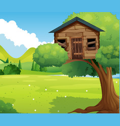 wooden treehouse in the park vector image vector image