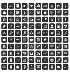 100 magnifier icons set black vector