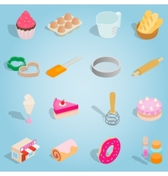 Bakery isometric set icons vector image