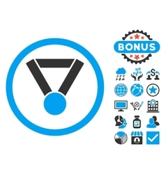 Champion award flat icon with bonus vector