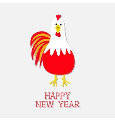 Red rooster cock bird 2017 happy new year symbol vector