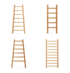 Wooden step ladder set of various ladders vector