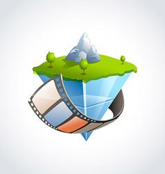 Flying island film vector